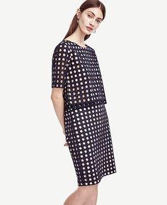Image of Geo Eyelet Tee Short Sleeves, Short Sleeve Dresses, Work Wardrobe, Fashion Forward, Ann Taylor, Dresses For Work, My Style, Tees, Womens Fashion