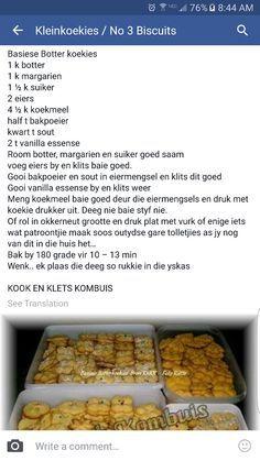 Botter koekies Fun Baking Recipes, Sweet Recipes, Cookie Recipes, Dessert Recipes, Desserts, Kos, South African Recipes, Biscuit Recipe, No Bake Cake