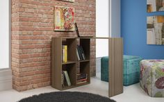 Shop Manhattan Comfort Pescara Oak Melamine 4 Shelves Cubby Desk with great price, The Classy Home Furniture has the best selection of Office Desks to choose from Small Home Offices, Home Office Desks, Office Workspace, Small Corner Desk, Small Tv Cabinet, Balkon Design, Oak Desk, Large Shelves, Best Desk