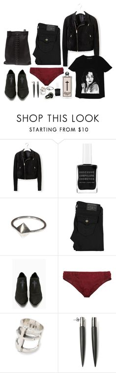 """""""DAY 29"""" by ghoulnextdoor ❤ liked on Polyvore featuring Rick Owens, Obsessive Compulsive Cosmetics, Grace + Scarper, Serge Lutens, True Religion, UNIF, Zinke, Pamela Love and Eddie Borgo"""