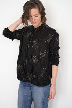 Jane, Ready to sew new pattern. Jane is a boyish and loose fit shirt with no side seams. Slightly drop sleeves, cute round collar, twist front. Fall Sewing, Sewing Clothes, Dressmaking, Lady, Personal Style, Sewing Patterns, Ruffle Blouse, Boutique, Clothes For Women