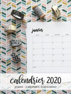 Calendrier 2020 tout simple, à customiser !