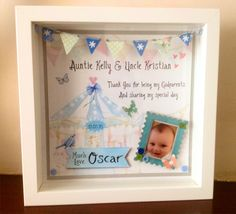 Made by Kath Hardy - i used my craft studio for the background of this box frame. i made bunting and used buttons to give more dimension. i also painted a little docraft frame to frame the photo. i recived so many compliments for this gift