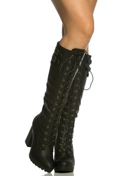 Black Faux Leather Chunky Knee High Lace Up Boots @ Cicihot Boots Catalog:women's winter boots,leather thigh high boots,black platform knee high boots,over the knee boots,Go Go boots,cowgirl boots,gladiator boots,womens dress boots,skirt boots.