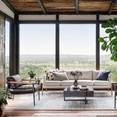 Living Room Windows, Home Living Room, Living Spaces, Metal Building Homes, Building Plans, Floor To Ceiling Windows, Wall Of Windows, Large Windows, Modern Windows
