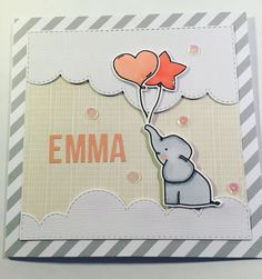 card with critters elephant balloon Avery Elle Ellie elephant Mit Kammer - Baby Emma - Avery Elle - Ellie - Elephant - Ballons - Clouds