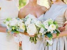 Lace-wrapped white bouquets   Photo by Leo Patrone