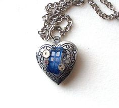Doctor Who Silver Heart Tardis Locket by TimeMachineJewelry