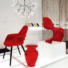 Valentine red chairs and interior accessories pop in any room via minima us