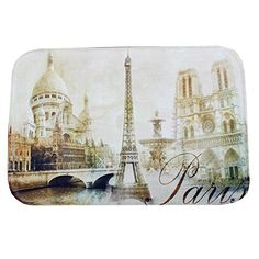 Dearhouse Modern Eiffel Tower French Paris Classic Bridge Cotton Flannel Door Mats Cover Rug Doormat 15.7inch By 23.6inch *** Continue to the product at the image link.
