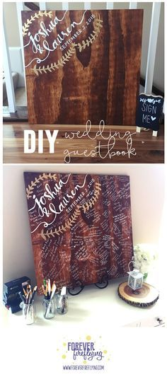 DIY wedding guestbook || Super easy, affordable and fun for your guests! Not to mention you can hang it in your home to treasure for years to come || Forever Fireflying