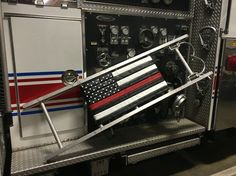 Reclaimed fire hose thin red line flag on an roof ladder!