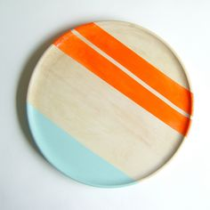 "Modern Neon Hardwood 10"" Dinner Plate, Electric Orange. $45,00, via Etsy."
