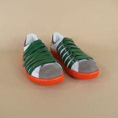 $224 DSQUARED2 Size 12 Leather White Sneakers via boutiika.com
