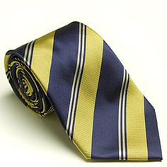 Classy stripes pattern the silky construction of a lavish necktie from Platinum Ties. This tie is made with quality craftsmanship from durable polyester thread. Color options: Navy/gold Diagonal strip