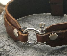 EXPRESS SHIPPING Men's leather bracelet . Brown leather