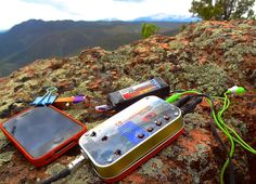 """""""Mountain Topper Radio"""" (MTR) 2-band QRP 5-watt HF transceiver designed and kitted by Steve Weber (KD1JV) fits in an Altoids tin. Deployed antenna (EFHW) in tree, iPhone logging app (HamLog), paddles and battery. #QRP ham Radio"""