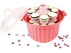 Because what could be cuter than carrying 2 dozen in a Giant Pink Cupcake Carrier by Fox Run, $24.95