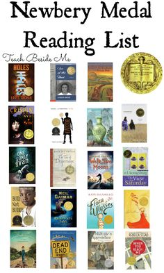 Newbery Medal Books Reading List When choosing books for my kids to read, I love to look through the award winning books like the Newbery Medal and Caldecott Medal books. I have read many of the books on these lists over the years and have been pleased Books For Boys, Childrens Books, Teen Books, Classic Books For Teens, Baby Books, Newberry Award Books, Middle School Books, Middle School Libraries, Newbery Medal