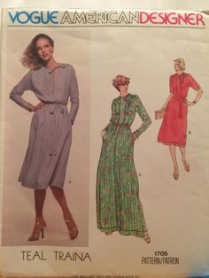 Vintage Vogue American Designer Teal Traina Pattern 1705 Size 16 by SewArtsyCraftsy on Etsy