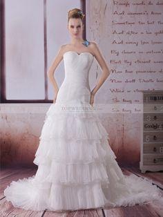 Maeja - corte princesa strapless vestido de novia de satén con plisado