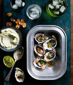 Australian Gourmet Traveller recipe for Grilled oysters with lemongrass crème fraîche, fried garlic and lime