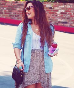 Def can recreate this denim shirt (used as a layer, flowy skirt with a white cami such a wear anywhere outfit