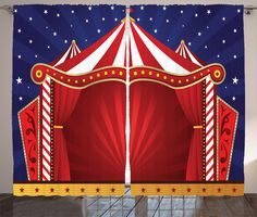 Ambesonne Circus Decor Collection, Canvas Tent Circus Stage Performing Theater Jokes Clown Cheerful Night Theme Print, Window Treatments for Kids Girls Boys Bedroom Curtain 2 Panels Set, 108X63 Inches. One of a kind design to help make any room your sanctuary. Includes 2 panels inside - The measurements are the total measurements of the set including two panels. Perfect size for most living rooms and bedrooms. Machine washable - Cold - Delicate cycle - Hang dry only. Made from a high…