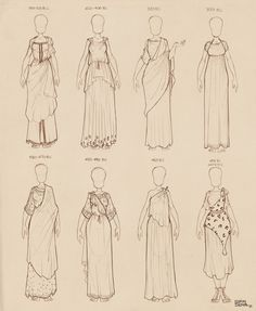 Here are some doodles of ancient Greek dresses I did for my own reference library      All these are drawn off original vases of the era written above each, so feel free to use them as reference!  Enjoy and let me know me if you find them useful!