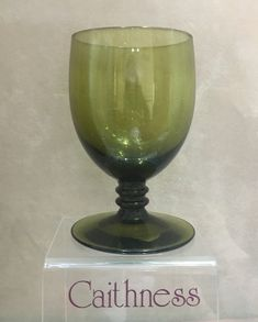 Caithness Glass wine goblet with ribbed stem in Moss Green Caithness Glass, Heritage Museum, Wine Goblets, Wine Glass, Tableware, Green, Design, Dinnerware, Tablewares