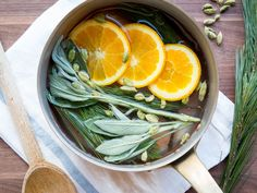 Simmering Scents : Everyone thinks about the food, decor and music when it comes to planning a holiday gathering — but you shouldn't overlook the power of scent. A simmer pot is a clever, all-natural way to waft a pleasant aroma throughout your entire house. Just put the ingredients into a saucepan, cover with water and let simmer. The heat and steam will welcome your guests — or even help them feel like they've been transported somewhere else.  By Karen Cohen for Food Netw...