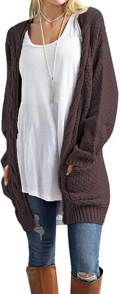 U.Vomade Womens Plus Cardigans Long Sleeve Chunky Open Front with Pockets Brown M at Amazon Women's Clothing store