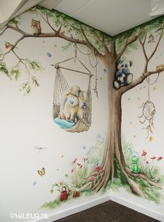 Tree with hanging chair in bab . Church Nursery, Nursery Room, Girl Nursery, Girl Room, Nursery Decor, Baby Boy Rooms, Baby Bedroom, Kids Bedroom, Bedroom Wall