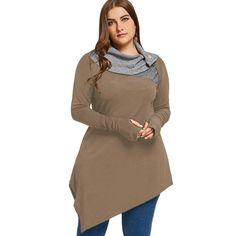 Gamiss Women Hoodies Plus Size Thumb Hole Asymmetrical Tunic Sweatshirts Tops Autumn Winter Elegant Basic Hoodies Pullovers Long Tee Shirts, Casual T Shirts, Casual Outfits, Casual Jeans, Work Outfits, Plus Size Cardigans, Night Outfits, Long Tops, Tunic Tops