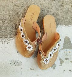 "Flat sandals, Slip on, leather sandals with lace, beaded sandals ""Lefka Ori"" - ""White Mountain"" Crete Beaded Sandals, Women's Sandals, Slide Sandals, Leather Sandals, Flats, Greek Sandals, Palm Beach Sandals, Greek Fashion, Crete"