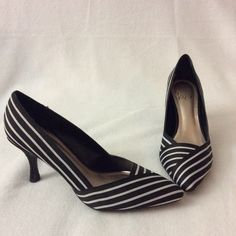 IMPO black and white heels. Black and white heels in great condition. Worn a couple of times. Textile upper. More pictures are show in a separate listing. Heel is 3 inch. IMPO Shoes Heels