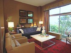 Ultimate Modern Classic Living Room Brown Interior Bay Windows Design. #livingroom #livingroomdesign #livingroomideas