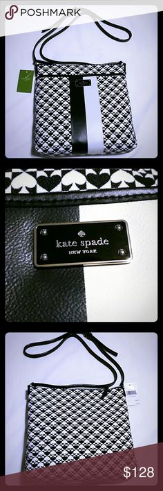 NWT Kate Spade Keisha bag. AUTHENTIC! This stunning bag by Kate Spade is the perfect addition to your handbag collection! It comes in the signature spade print in black and white. It also has a long, adjustable leather strap so you can change it to your perfect length. The exterior also has an open pocket all along the front.  Interior is a gorgeous magenta. Comes with 2 side pockets and one zip compartment.  NWT. Never been used. In new condition. No marks or wear. kate spade Bags