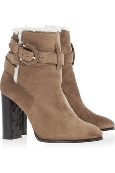Block heel measures approximately 100mm/ 4 inches Tan suede, off-white shearling (Sheep) Buckle-fastening ankle strap