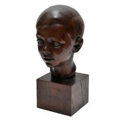 1stdibs | Art Deco Carved Oak Head of a Child by Helene Sardeau (1899-1968)