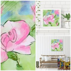 Pink Rose - Flowerly Abstracts - Square Art - Wall Art Prints - Digital Downloadable Prints #roses #square #pink #green Printing Services, Online Printing, Wall Art Prints, Fine Art Prints, Square Art, Types Of Printer, Decorating Your Home, Roses, Abstract