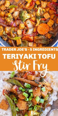 This delicious Teriyaki Tofu Stir Fry is made with just 5 ingredients, all from Trader Joe's! It's really easy to make and perfect for an easy hassle free weeknight dinner that just happens to be vegan! #teriyaki #teriyakitofu #Stirfry #tofu #vegan Teriyaki Stir Fry, Tofu Stir Fry, Stir Fry Sauce, Vegetable Stir Fry, Asian Broccoli, Homemade Stir Fry, Stir Fry Ingredients, Keep Recipe, Power Salad