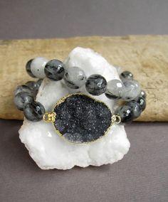 Black Druzy Bracelet Drusy Tourmalinated Quartz by julianneblumlo, $88.00