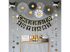 50th Wedding Anniversary Decorations, 70th Birthday Decorations, Retirement Party Decorations, 70th Anniversary, 40th Birthday Themes, 55th Birthday, 70th Birthday Parties, Birthday Cheers, Gold Birthday