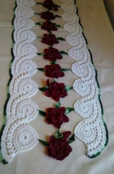 Crochet lace tape,, tape lace as table runner