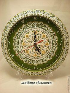 """Часы для дома ручной работы. Ярмарка Мастеров - ручная работа. Купить Часы """"Оливковая нежность"""". Handmade. Оливковый, часы интерьерные"""