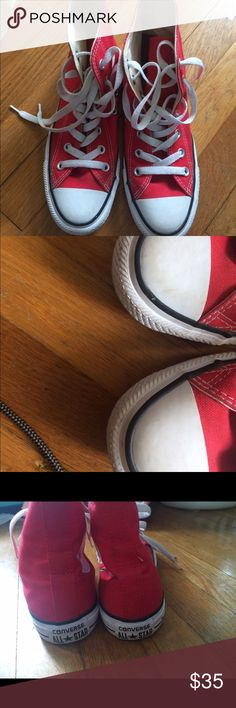 Red high top converse Worn twice in great condition. I am a 7.5 or 8 in women's Converse Shoes Athletic Shoes