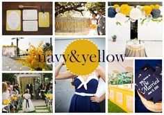 This color scheme can work for various theme's from a nautical theme to a chic morning wedding. Navy and yellow is a great combo because.