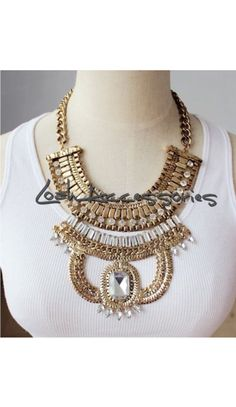 Layered Punk Style Statement Necklace  #Loah #Statement #Gold #Necklace #Fall2014 #Musthave #Trendy #Fashion #Fall #Glam #Moda #Lookbook #Crystals #Weekend