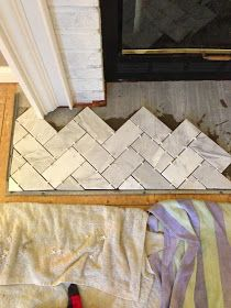 Terrific No Cost Marble Fireplace hearth Ideas Natural-stone fireplaces won't go out of style, particularly those that feature elaborate surround Fireplace Hearth Tiles, Herringbone Fireplace, Herringbone Tile, Marble Fireplaces, Brick Fireplace, Marble Hearth, Fireplace Update, Victorian Fireplace, Fireplace Surrounds